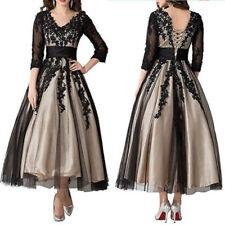 Lace Applique V Neck Mother of Bride Dresses Corset Tea length Evening Prom Gown