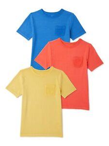 Wonder Nation Boys Jacquard Short Sleeve T-Shirt, 3-Pack, Large (10-12)