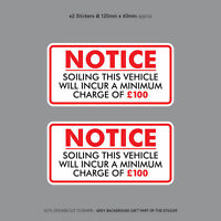Minimum Soiling Charge £100 Sticker Ideal For Taxi Coach Bus Minibus - SKU3129
