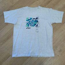 Vintage 90s ASICS Grey Sports Classic T-Shirt Size Mens Medium