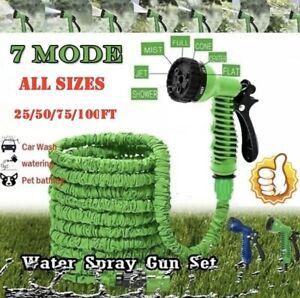 50-250 Feet Retractable Expandable Garden Hose Magic Pipe + Spray Gun Cold Water