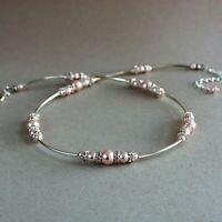 Blush pink pearls rhinestones wedding bridal bridesmaid collar choker necklace