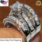 3pcs/set 925 Silver Rings For Women White Sapphire Wedding Jewelry Gift Sz 6-10