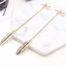 Women Drop Pearls Earrings Simulated Feather Leaf Tassel Jewelry Long Dangle