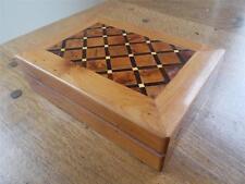 Impresionante con incrustaciones de marquetería parqué de madera joyería caja de la baratija Maderas