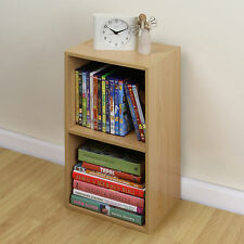 2 Tier Wooden Beech Cube Bookcase Storage Unit Shelving/shelves Bedside Table