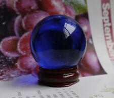HOT 40MM +Stand Natural Blue Obsidian Sphere Large Crystal Ball Healing Stone