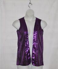 Joan Rivers Open Front Sequin Vest Size S Purple