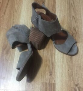"""Lucky Brand Raygalan Leather Clogs Women's 9M Gray 3"""" Heel Ankle 10.5"""" Circum"""