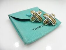 STUNNING TIFFANY AND COMPANY 18K GOLD AND STERLING SILVER X EARRINGS