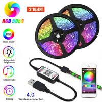 5V USB Power LED Strip Lights RGB TV Backlight Bluetooth APP Remote Music Sync