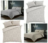 New Traditional Chantilly Reversible Damask Duvet Quilt Cover & Pillowcases Set