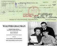 WALTER GRAUMAN TV FILM STAGE  DIRECTOR HAND SIGNED BANK CHEQUE - 1976  RARE ITEM