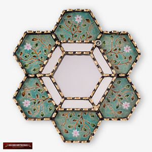 "Handmade Hexagonal Wall Mirror 11.8"" from Peru, Painting on glass mirror wall"