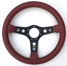 OBA Steering Wheel Burgundy Leather Black Spokes 35cm Made In Italy