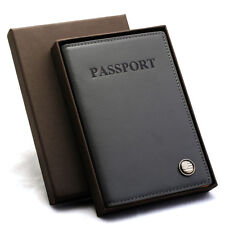 Free Engraving- RFID Blocking Leather Passport Case ID Card Holder Cover Wallet