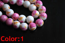 Flowers Round Ceramic Clay Porcelain Beads Jewelry Findings 10mm Loose Spacer