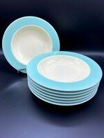 Pagnossin Treviso Ironstone Blue/Cream Rimmed Soup/Pasta Bowl Set of 7 Rare!