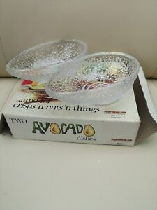 Vintage Two Avocado Dishes Boxed Made In England