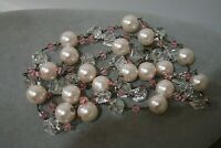 VINTAGE GLASS PEARL ROCK CRYSTAL SWAROVSKI PINK CRYSTAL STERLING SILVER NECKLACE