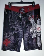 Affliction Red Skull Black Board Shorts Size 32