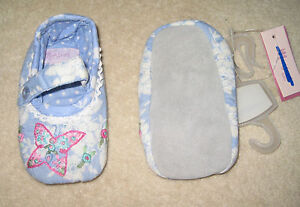 New Monsoon Baby Girls Pram Shoes Slippers Butterfly Embroidery rrp £10