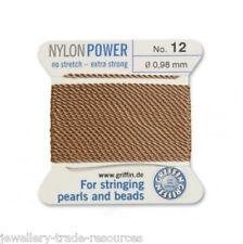 De Nylon Color Beige Potencia sedoso Hilo 0,90 Mm Encordar Perlas Y Cuentas Griffin 10
