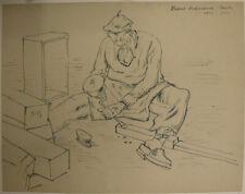 H.ASCHENBACH (*1900), Tischler bei der Arbeit, Tusche
