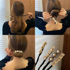2021 Fashion Lazy Flower Pearl Hairpin Bun Maker Twist Headband Hair Accessories