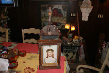 Antique Jesus Christ Religious Wood Icon Shrine last Rites Box-Christianity-LQQK