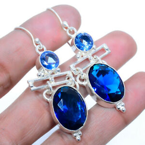 """Madagascar Blue Sapphire 925 Sterling Silver Jewelry Earring 2.17"""" W319"""