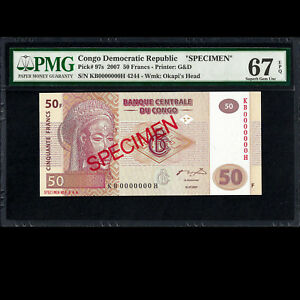 Congo 50 Francs 2007 Specimen PMG 67 SUPERB GEM UNCIRCULATED EPQ P-97s
