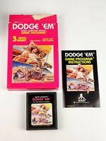 Vintage Atari Dodge 'Em CX2637 cartridge box manual CIB COMPLETE