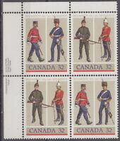 CANADA #1007-1008 32¢ Army Regiments UL Inscription Block MNH