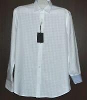 Bugatchi Men's White Plaid  Design Cotton Shirt Size US L Shaped Fit NEW