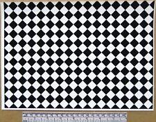Dolls house 1/12th scale self adhesive vinyl sheet - black & white floor tiles