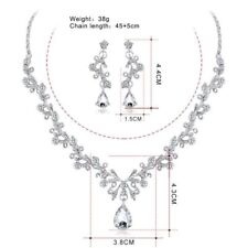 elegant Wedding Party Bridal Jewelry Crystal Necklace + Earrings Sets