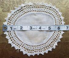Antique Doily Crochet Lace Small Round Home Decor Dollhouse Rug Prim Blythe A36