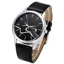 Herrenuhr Damenuhr Schwarz Gitarre Zifferblatt Armbanduhr Lederarmband Quarzuhr