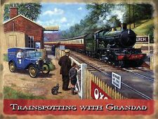 Trainspotting with Grandad Steam Train Old Railway Engine Small Metal/Tin Sign