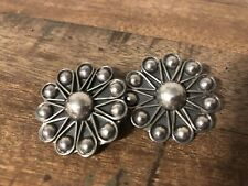 Vintage Sterling Silver Clip On Earrings Taxco Mexico