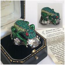 Vintage Kenneth Jay Lane (KJL) Rhinestone Crystal Frog Ring Size Q