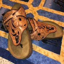 Birkenstock Brown Tooled Western Leather size 39 Cowgirl Sandal