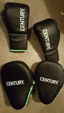 Century Youth Training Boxing Gloves and Blockers - 6 oz. - Black/Green