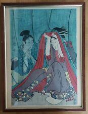 More details for original meiji period 19th. century japanese woodblock print. framed. geisha?