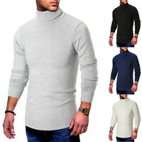 Men's Long Sleeve Turtleneck Pullover Sweater Slim Warm Knitwear Knitted Jumper