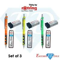 Set of 3 Rotring Tikky Mechanical Pencils 0.7 With Lead Refills & Erasers