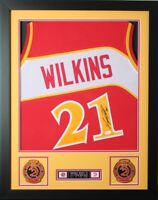 Dominique Wilkins Autographed and Framed Red Hawks Jersey Auto JSA COA D1-S