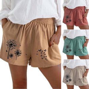 Women's Floral Elastic Waist Hot Pants Ladies Summer Beach Casual Pockets Shorts