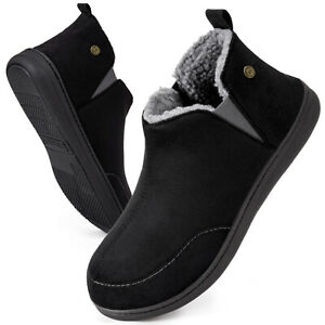 Mens Faux Suede Sheepskin Boots Shoes Elastic Dual Gores Slippers Size 9 10 11